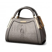 Women Latest Design Chocolate Crocodile Pattern Handbag WB-12CH