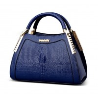 Women Latest Design Blue Crocodile Pattern Handbag WB-12BL
