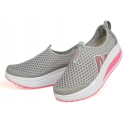 Women Gray High Bottom Breathable Mesh Sports Joggers Shoes S-19GR