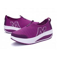 Women Purple High Bottom Breathable Mesh Sports Joggers Shoes S-19PR