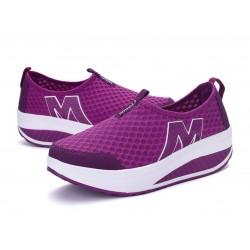 Women Purple High Bottom Breathable Mesh Sports Joggers Shoes S-19PR