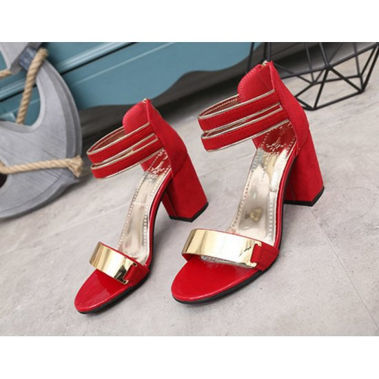 Korean Fashion Red Open-Toed Zipper Sandals S-17RD image