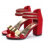Korean Fashion Red Open-Toed Zipper Sandals S-17RD| Images