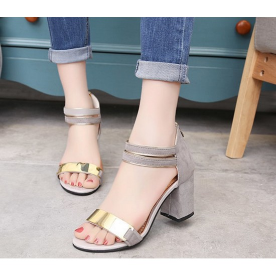 Korean Fashion Biege Open-Toed Zipper Sandals S-17GR image