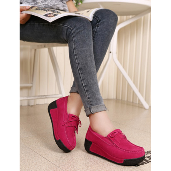 Women Pink High Wedge Casual Shoes S-16PK