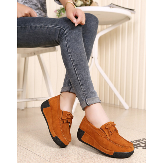 Women Brown High Wedge Casual Shoes S-16BR image