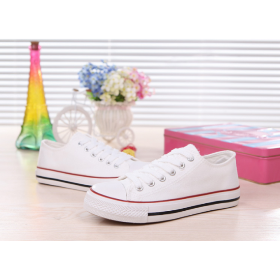 Women White With Red Lines Comfty Canvas Shoes For Women WS-03WR
