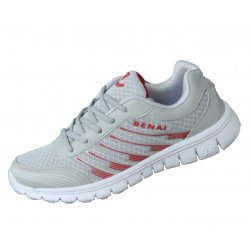 Women Gray With Red Shades Sports Breathable Air-Cushioned Joggers Shoes S-21RD
