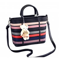 Women Black Pu Leather Satchel Bag with Little Bear WB-15BK
