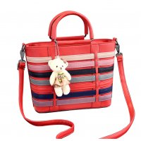Women Red Pu Leather Satchel Bag with Little Bear WB-15RD