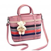 Women Pink Pu Leather Satchel Bag with Little Bear WB-15PK