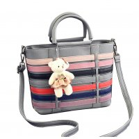 Women Grey Pu Leather Satchel Bag with Little Bear WB-15GR