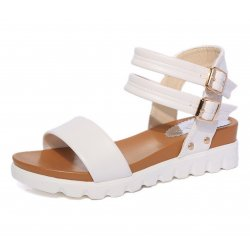 Women Leather Doubles Buckle Flat Bottomed Sandals S-24W
