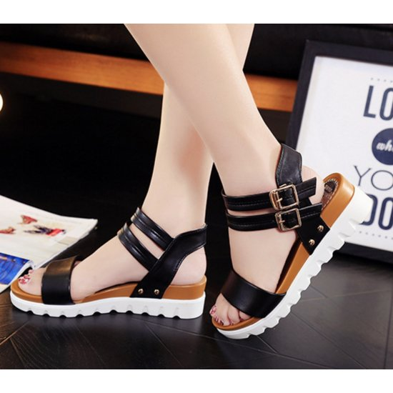 Women Leather Doubles Buckle Flat Bottomed Sandals S-24BK