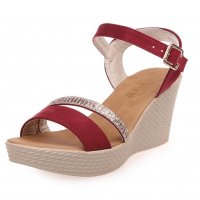 Women Red Buckle High Wedge Sandals S-26RD