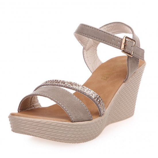 Women Brown Buckle High Wedge Sandals S-26BR image