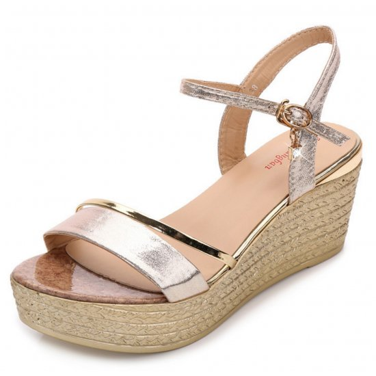 Women Korean Fashion Shining Gold Wedge Sandals S-22G image