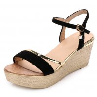 Women Korean Fashion Shining Black Wedge Sandals S-22BK