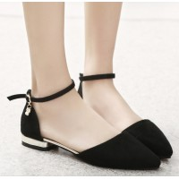 Women Fashion Black Velvet Summer Flats S-27BK
