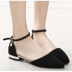Women Fashion Black Velvet Summer Flats S-27BK