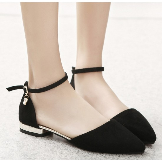 Women Fashion Black Velvet Summer Flats S-27BK image