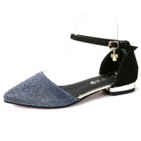 Women Fashion Silver Shining Velvet Summer Flats S-27S