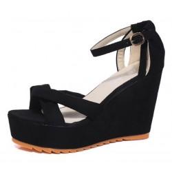 Women Black High Heel Cross Strap Wedge Sandals S-28BK