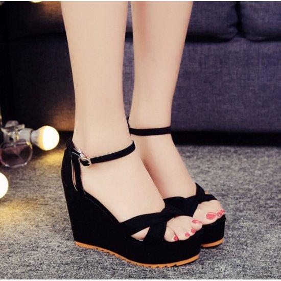 Women Black High Heel Cross Strap Wedge Sandals S-28BK image