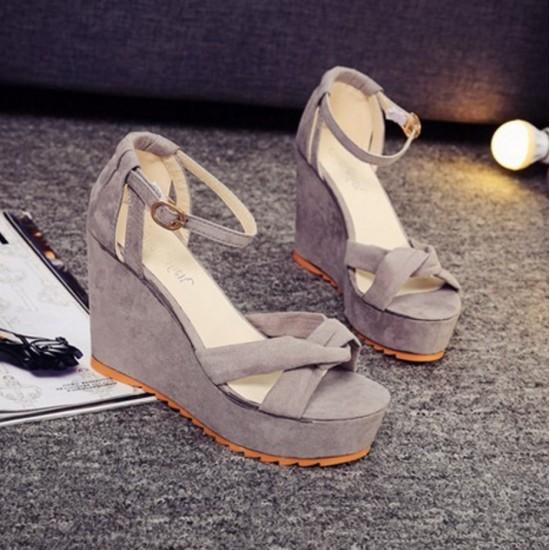 Women Black High Heel Cross Strap Wedge Sandals S-28GR