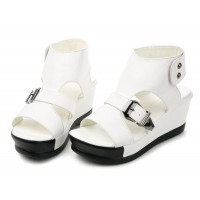 Women Light Weight White High Heel Leather Sandals S-31W