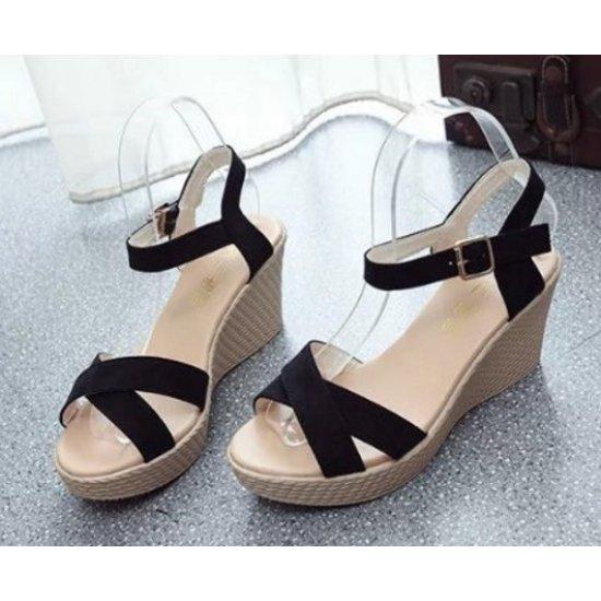 Women Black Vintage High Heel Wedge Sandals S-34BK image