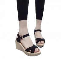Women Black Vintage High Heel Wedge Sandals S-34BK