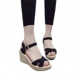Women Black Vintage High Heel Wedge Sandals S-34BK