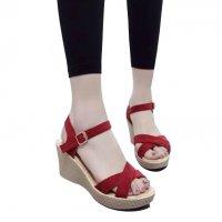 Women Red Vintage High Heel Wedge Sandals S-34R