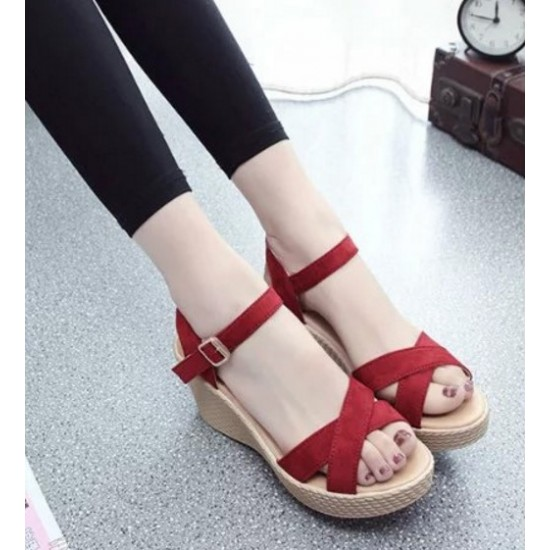 Women Red Vintage High Heel Wedge Sandals S-34R image