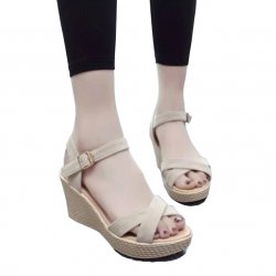 Women Cream Vintage High Heel Wedge Sandals S-34CR