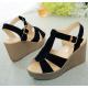 Women Black Suede High Wedge Sandals S-35BK