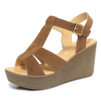 Women Brown Suede High Wedge Sandals S-35BR