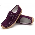 Women Purple Leather Snail Scrub Flat Shoes S-33PR|image