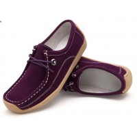 Women Purple Leather Snail Scrub Flat Shoes S-33PR