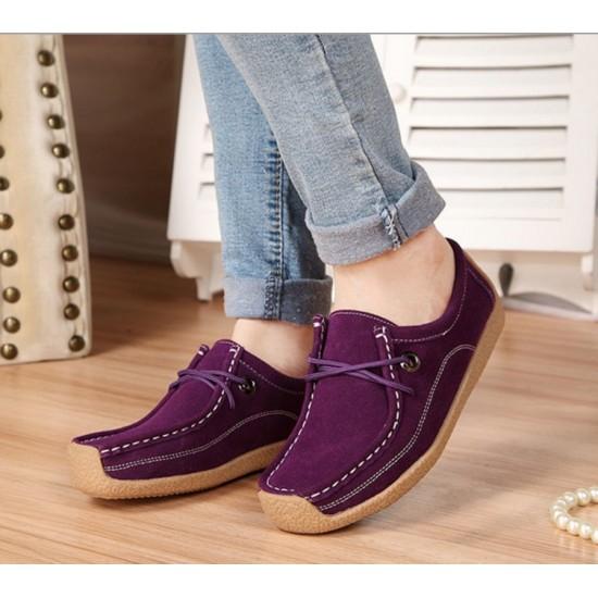 Women Purple Leather Snail Scrub Flat Shoes S-33PR