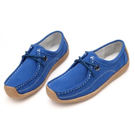 Women Blue Leather Snail Scrub Flat Shoes S-33BL