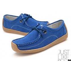 Women Blue Leather Snail Scrub Flat Shoes S-33BL