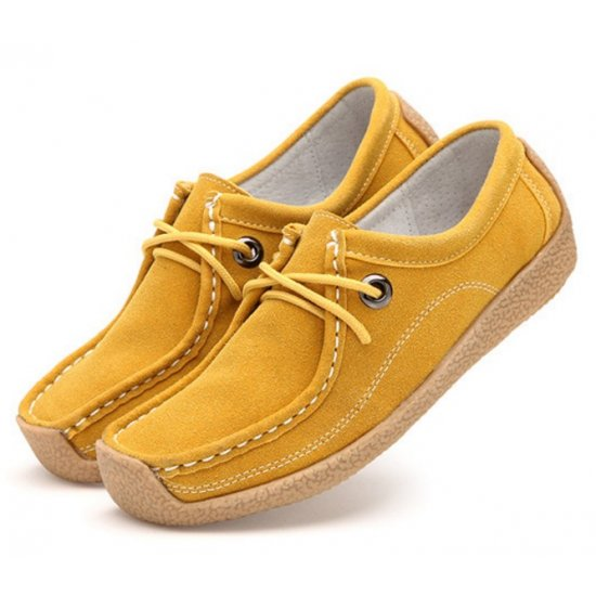 Women Yellow Brown Leather Snail Scrub Flat Shoes S-33YL image