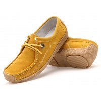 Women Yellow Brown Leather Snail Scrub Flat Shoes S-33YL