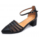 New Summer Women Black Splicing Mesh Pointed Sandals S-38BK