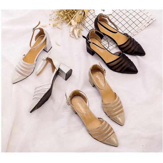 New Summer Women Black Splicing Mesh Pointed Sandals S-38BK image