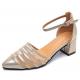 New Summer Women Gold Splicing Mesh Pointed Sandals S-38G