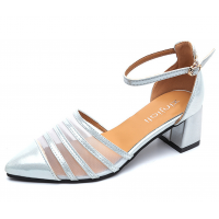 New Summer Women Silver Splicing Mesh Pointed Sandals S-38S