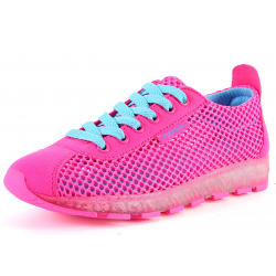 Women Hot Pink Mesh Breathable High Sole Sports Shoes S-43P